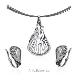 Komplet biżuteria srebrna oksydowana - AJSZA