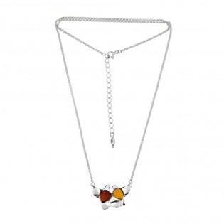 Biżuteria srebrna naszyjnik z bursztynem - DWA GOŁĄBKI