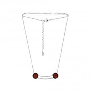 Naszyjnik srebrny z wiśniowym bursztynem