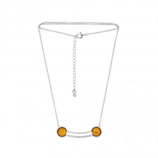Naszyjnik srebrny z konikowym bursztynem - ANNA