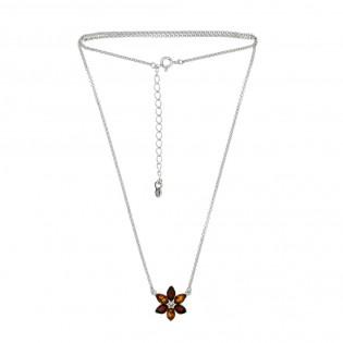 Piękna biżuteria srebrna Naszyjnik z bursztynem KWIATEK
