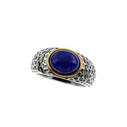 Pierścionek srebrny z lapis lazuli - Stylowa biżuteria srebrna