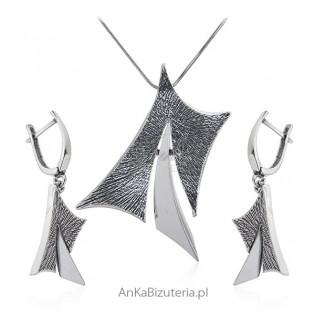 Biżuteria srebrna komplet oksydowany ADORA