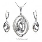 Biżuteria srebrna komplet oksydowany - Carmella