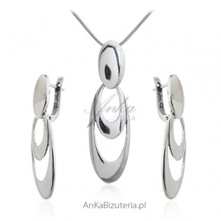 Biżuteria srebrna komplet - Owalne kółka