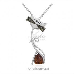 Biżuteria srebrna z bursztynem- zawieszka KOTEK