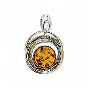 Biżuteria srebrna - zawieszka z bursztynem OLIVIA