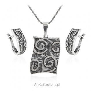 Komplet biżuteria srebrna oksydowana - ESY FLORESY