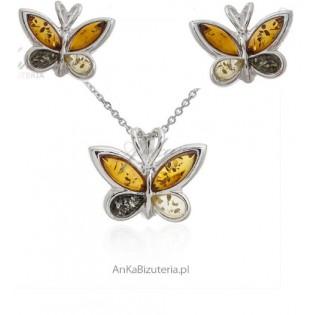 Komplet biżuteria srebrna z bursztynem MOTYLKI