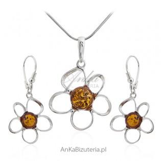 Komplet biżuteria srebrna z bursztynem - BURSZTYNOWE KWIATKI