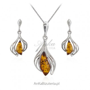 Biżuteria srebrna z bursztynem - Biżuteria na Prezent