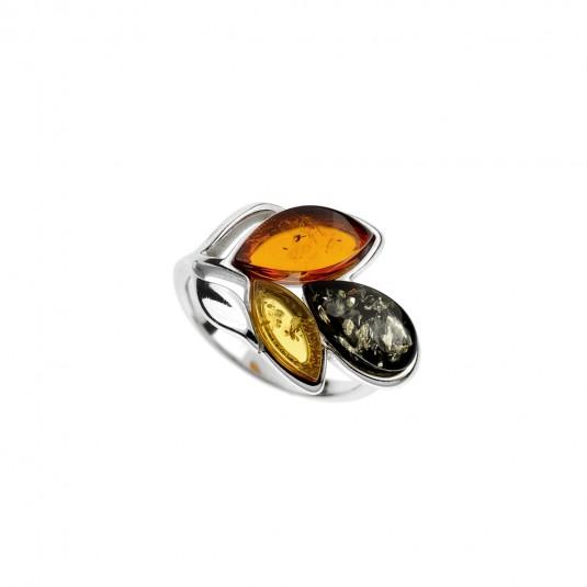 Pierścionek srebrny z bursztynem LISTEK