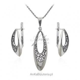 Komplet biżuteria srebrna oksydowana TENERYFA