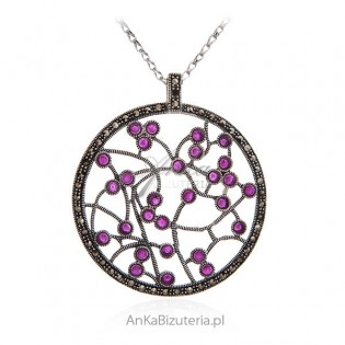 Zawieszka srebrna z markazytami i rubinowymi cyrkoniami
