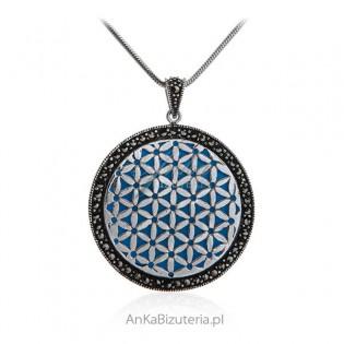 Srebrna biżuteria z markazytami na turkusowym kamieniu jubilerskim