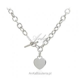 Oryginalny srebrny naszyjnik z sercem - włoski design
