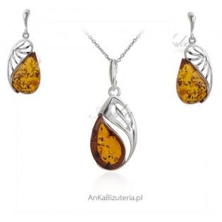 Komplet biżuteria srebrna z bursztynem ARASHI