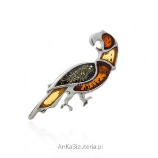 Broszka srebrna z bursztynem PAPUGA ARA