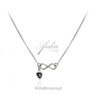 Srebrny naszyjnik Infinity - nieskończoność z czarnym serduszkiem