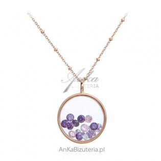 Piękny naszyjnik srebrny pozłacany różowym złotem z kryształkami Swarovski