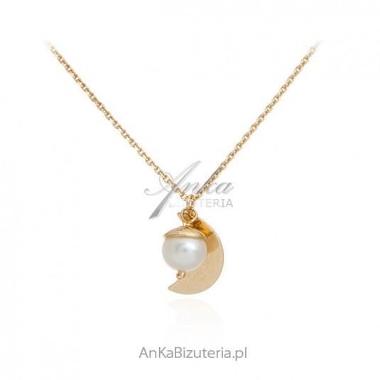 Naszyjnik srebrny pozłacany z perełką