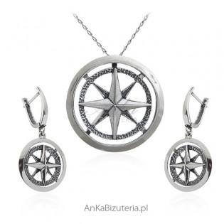Komplet biżuteria srebrna z oksydowana KOMPAS