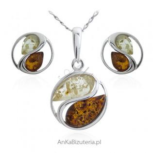 Komplet biżuteria srebrna z bursztynem FENG SHUI