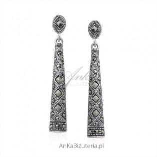 Biżuteria srebrna Kolczyki z markazytami