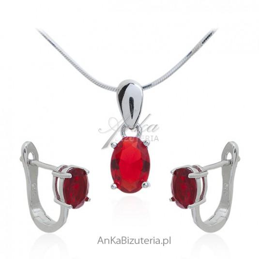 Biżuteria srebrna komplet z bordową cyrkonią