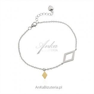 Bransoletka srebrna GEOMETRIC srebro rodowane i pozłacane