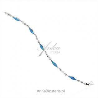 Bransoletka srebrna z niebieskim opalem 18 cm