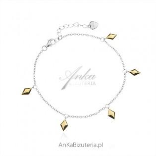 Bransoletka srebrna GEOMETRIC z pozłacanymi elementami