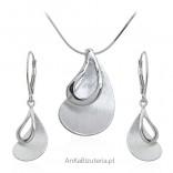 Komplet biżuteria srebrna satynowana i rodowana