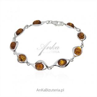 Biżuteria srebrna - Bransoletka srebrna z bursztynem
