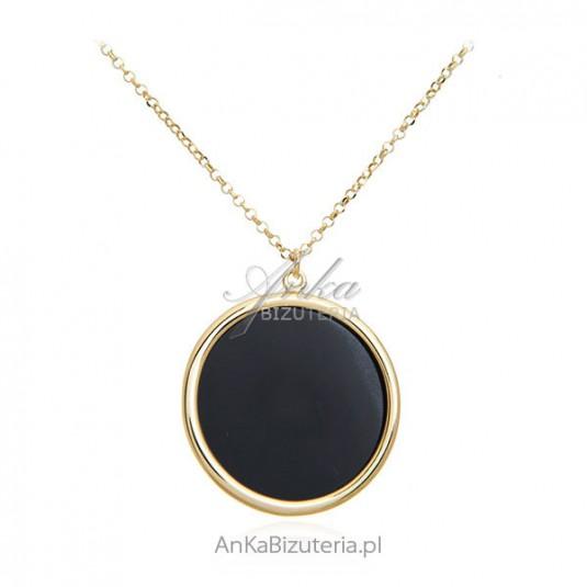 Elegancki naszyjnik srebrny pozłacany z czarnym onyksem