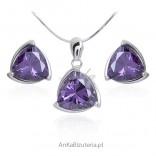 Komplet biżuteria srebrna z fioletową cyrkonią