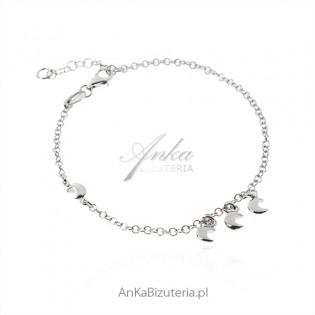Biżuteria srebrna Bransoletka z przywieszkami KSIĘŻYCE