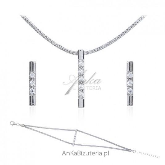 Biżuteria srebrna Komplet biżuteria włoska z cyrkoniami