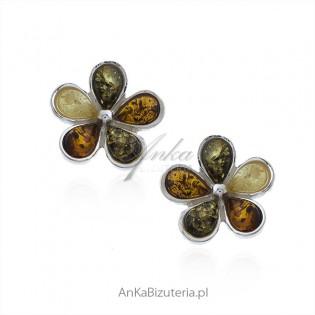 Kolczyki srebrne KWIATKI z kolorowym bursztynem sztyfty