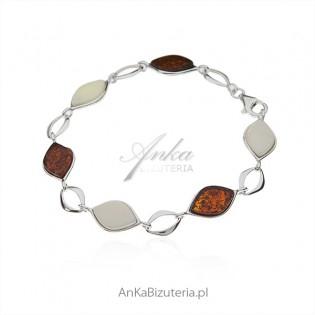 Piękna bransoletka srebrna z bursztynem białym i koniakowym