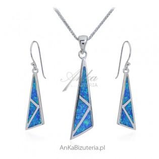 Komplet biżuteria z niebieskim opalem australijskim