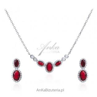 Komplet biżuteria srebrna Naszyjnik i kolczyki z czerwoną cyrkonią