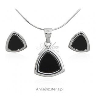Biżuteria srebrna komplet z czarnym onyksem