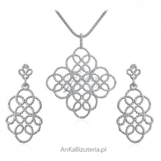 Biżuteria srebrna KORONKOWY KOMPLET