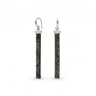 Srebrne kolczyki z kryształami Swarovski STRIPE METALLIC SILVER
