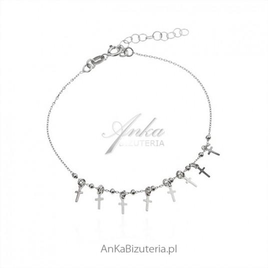 Bransoletka srebrna z maleńkimi krzyżykami