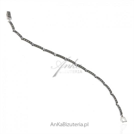 Biżuteria srebrna - Bransoletka srebrna z markazytami