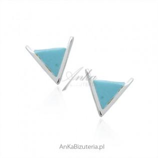 Kolczyki srebrne z niebieskim turkusem