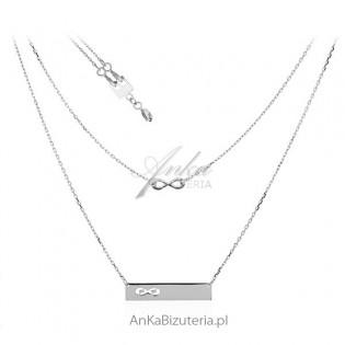 Naszyjnik srebrny rodowany 2 w 1 Biżuteria modułowa na 3 sposoby