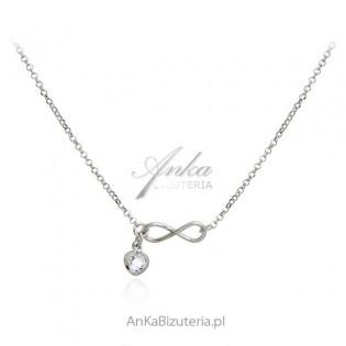 Biżuteria srebrna Naszyjnik INFINITY z białym serduszkiem